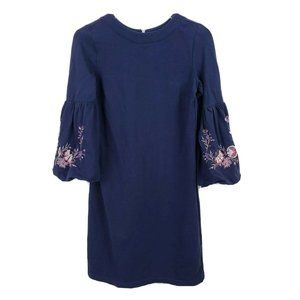 Loft Embroidered Puff Sleeve Shift Dress XS